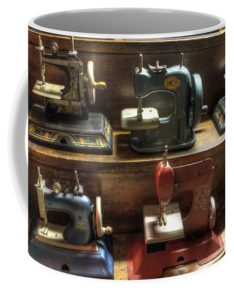 Sew Coffee Mug featuring the photograph Toy Sewing Machines by Jane Linders