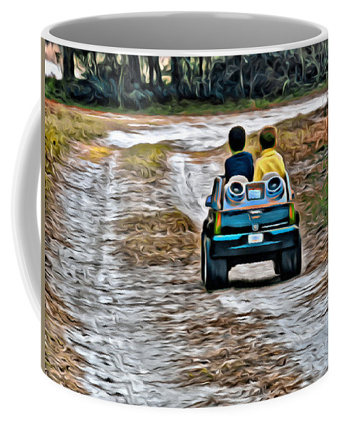 Truck Toy Boys Road Kids Coffee Mug featuring the photograph Toy Truck Riders by Alice Gipson