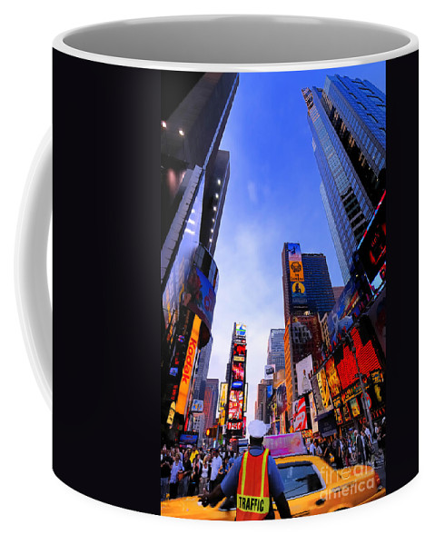 Ads Coffee Mug featuring the photograph Traffic Cop In Times Square New York City by Amy Cicconi
