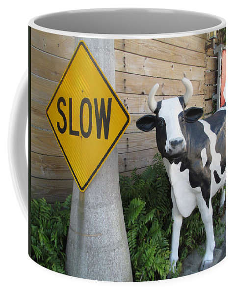 Abstract Coffee Mug featuring the photograph Traffic Cow by Dart and Suze Humeston