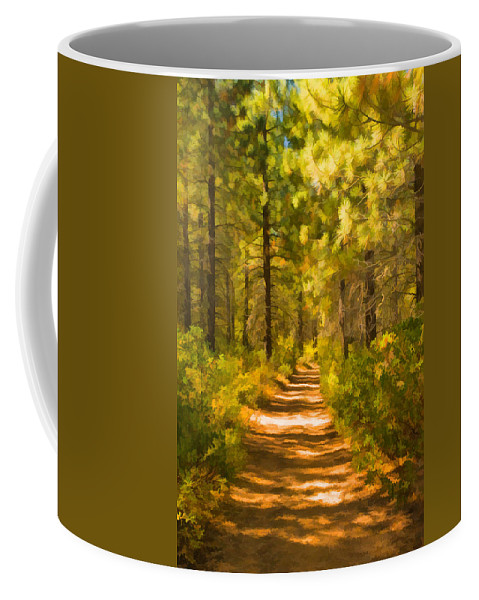 Trail Coffee Mug featuring the digital art Trail Through The Woods by Mick Burkey