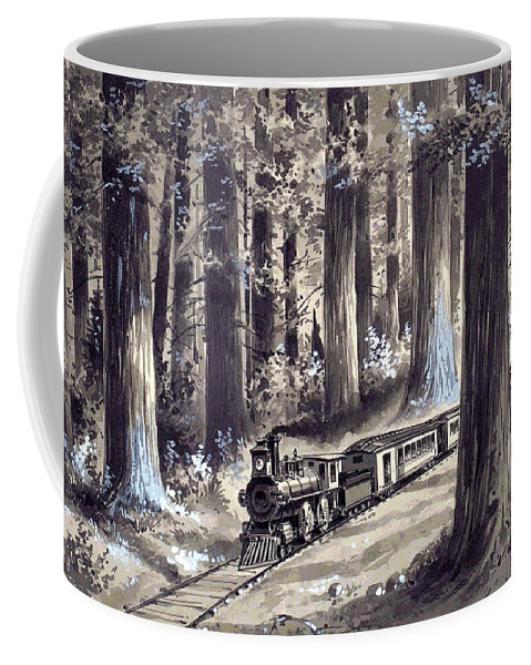 Train In The Redwoods Coffee Mug featuring the digital art Train In The Redwoods by Unknown