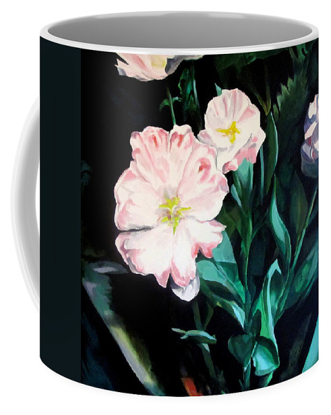 Tulips Coffee Mug featuring the painting Tranquility In The Garden by John Duplantis