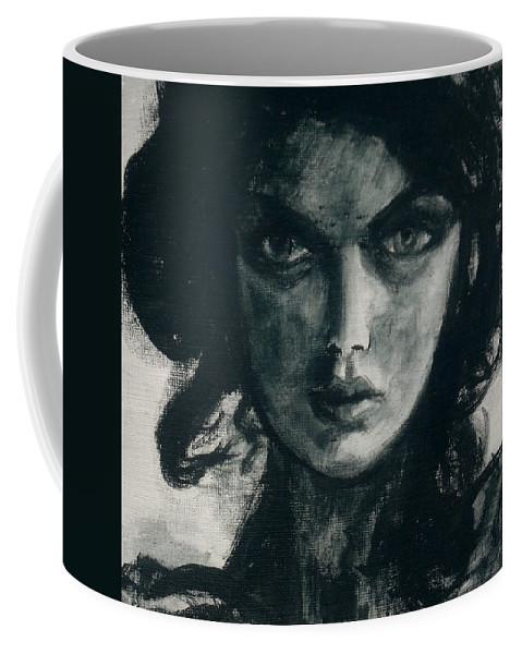 Portrait Art Coffee Mug featuring the painting Portait Of Beatcee May by Jarmo Korhonen aka Jarko