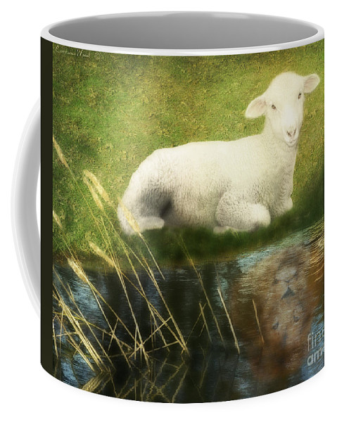 Lion And Lamb Art Coffee Mug featuring the painting Transformation Lamb Or Lion by Constance Woods
