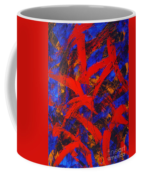 Abstract Coffee Mug featuring the painting Transitions With Blue And Red by Dean Triolo