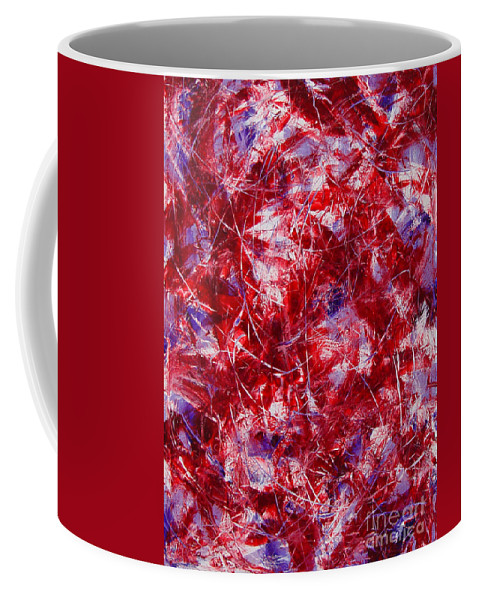 Abstract Coffee Mug featuring the painting Transitions With White Red And Violet by Dean Triolo