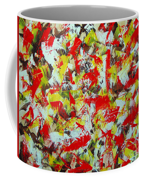 Abstract Coffee Mug featuring the painting Transitions With Yellow Brown And Red by Dean Triolo