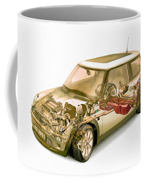Car Coffee Mug featuring the painting Transparent Car Concept Made In 3d Graphics 5 by Jeelan Clark