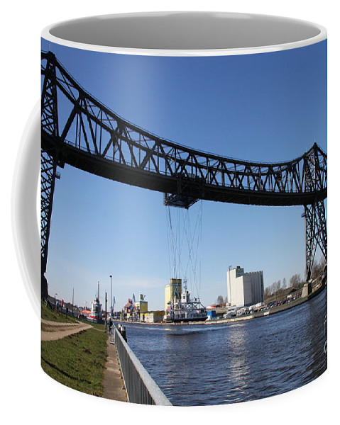 Bridge Coffee Mug featuring the photograph Transporter Brigde - Schwebefaehre Rendsburg by Christiane Schulze Art And Photography