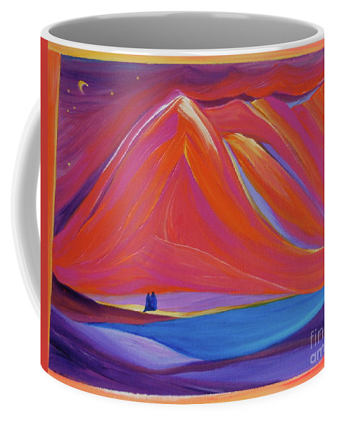 Mountains Coffee Mug featuring the painting Travelers Pink Mountains by First Star Art