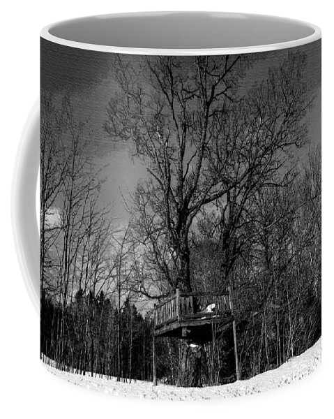 Treehouse Coffee Mug featuring the photograph Tree House In Black And White by William Tasker