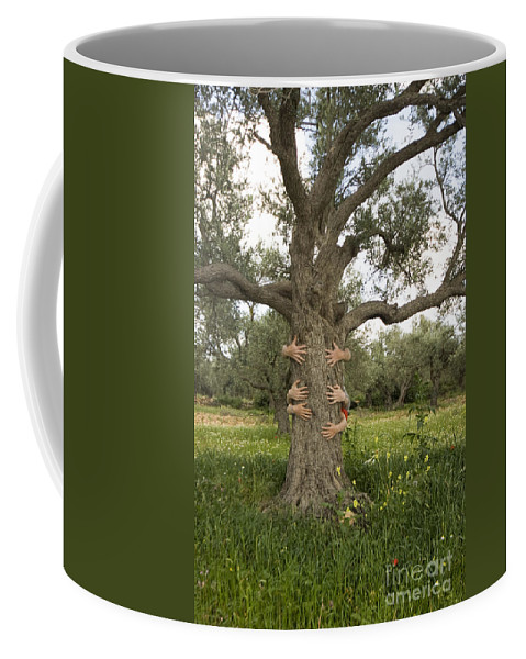 Tree Coffee Mug featuring the photograph Tree Hugging Green Ecological Concept by Eyal Bartov