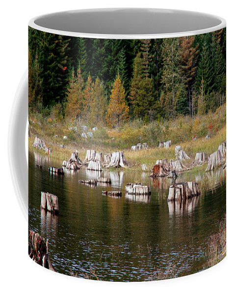Trees Coffee Mug featuring the photograph Tree Stumps At Clear Lake by Athena Mckinzie