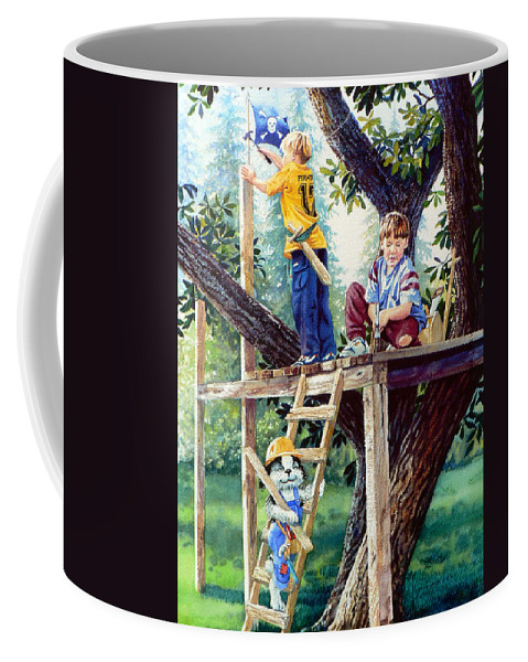 Kids Dog Treehouse Print Coffee Mug featuring the painting Treehouse Magic by Hanne Lore Koehler