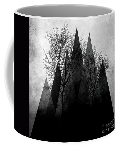 Geometric Coffee Mug featuring the mixed media Trees Vi by PIA Schneider