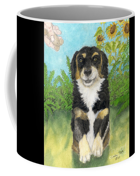Tri Coffee Mug featuring the painting Tri Colored Dachsund Mix Dog Canine Pets Animal Art by Cathy Peek