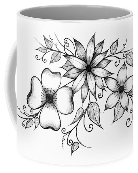 Flower Coffee Mug featuring the drawing Tri-floral Sketch by Alina Davis