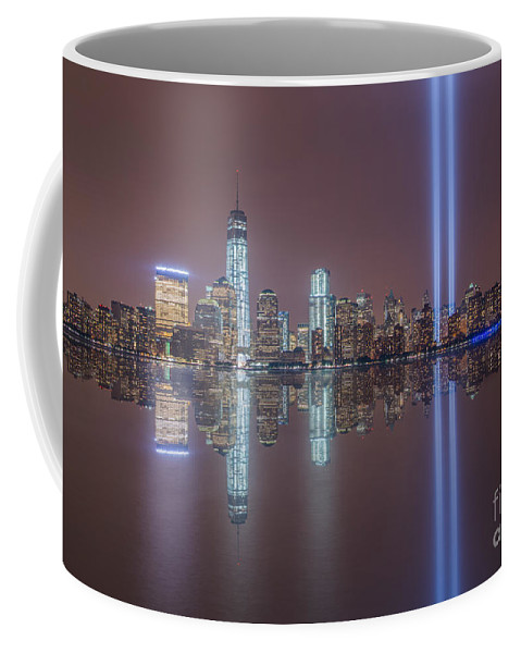 New York City Coffee Mug featuring the photograph Tribute In Light Reflections by Michael Ver Sprill