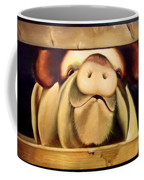 Pigs Coffee Mug featuring the painting Tricia The Pig by Anni Adkins