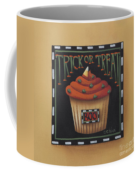 Art Coffee Mug featuring the painting Trick Or Treat by Catherine Holman