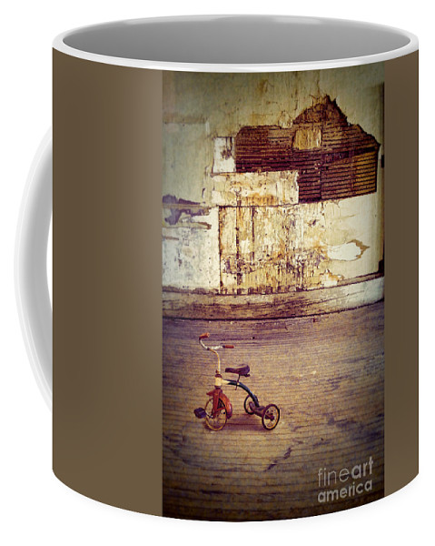 Trike Coffee Mug featuring the photograph Tricycle In Abandoned Room by Jill Battaglia