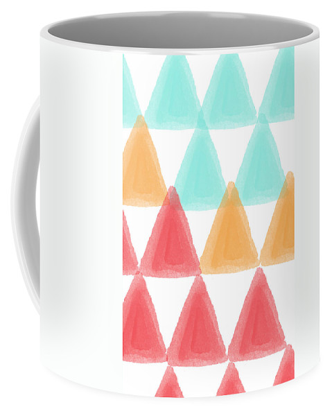 Triangles Coffee Mug featuring the painting Trifold- colorful abstract pattern painting by Linda Woods