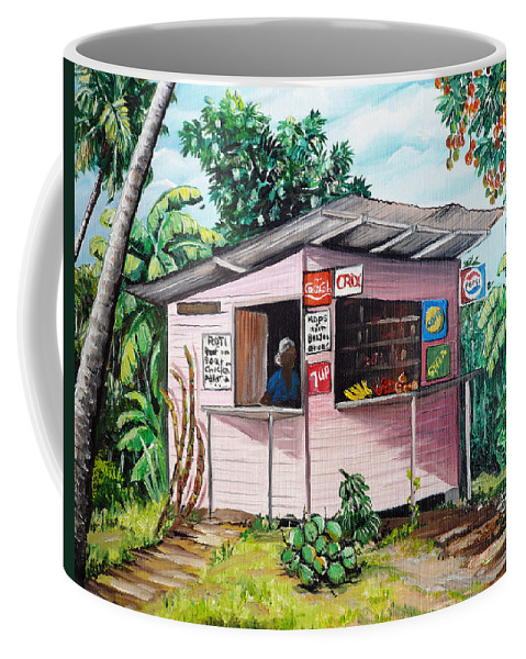 Shop Painting Coffee Mug featuring the painting Trini Roti Shop by Karin Dawn Kelshall- Best