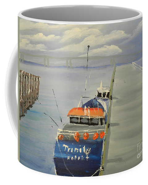 Impressionism Coffee Mug featuring the painting Trinity Long Line Fishing Trawler At San Remo by Pamela Meredith