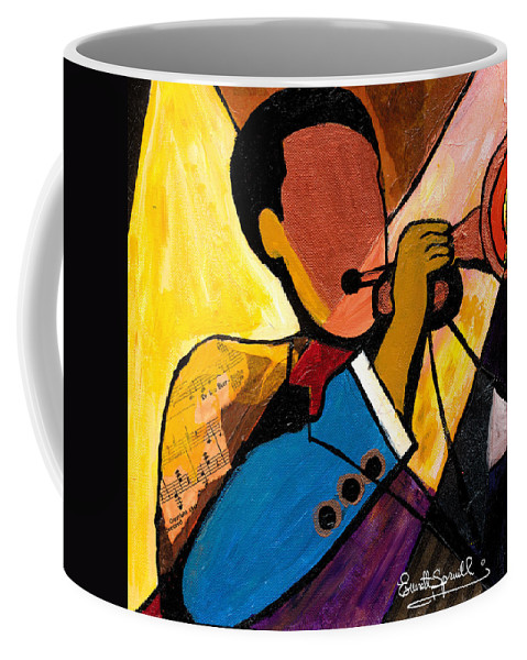 Jazz Art Coffee Mug featuring the painting Trip Trio 1 Of 3 by Everett Spruill