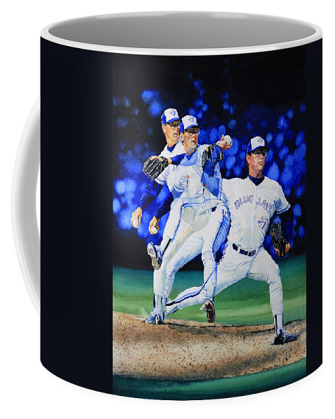 Sports Art Coffee Mug featuring the painting Triple Play by Hanne Lore Koehler
