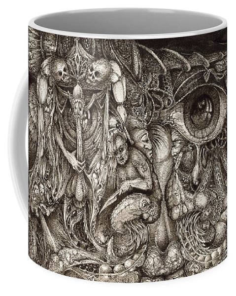 Surreal Coffee Mug featuring the drawing Tripping Through Bogomils Mind by Otto Rapp