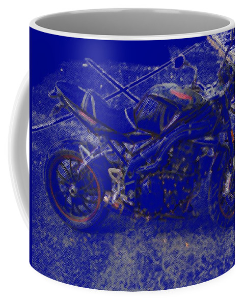 Triumph Coffee Mug featuring the painting Triumph In Blue by George Pedro