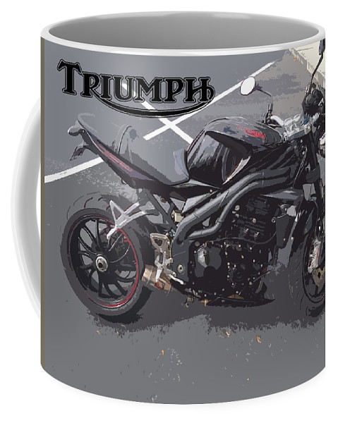 Triumph Coffee Mug featuring the painting Triumph Motorcycle by George Pedro