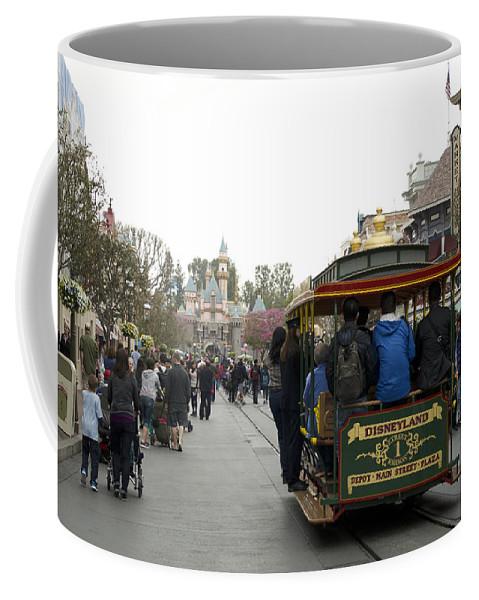 Disney Coffee Mug featuring the photograph Trolley Car Main Street Disneyland 03 by Thomas Woolworth