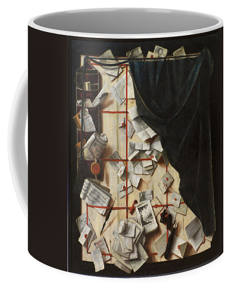 Cornelis Norbertus Gijsbrechts Coffee Mug featuring the painting Trompe L Oeil With Letters by Cornelis Norbertus Gijsbrechts