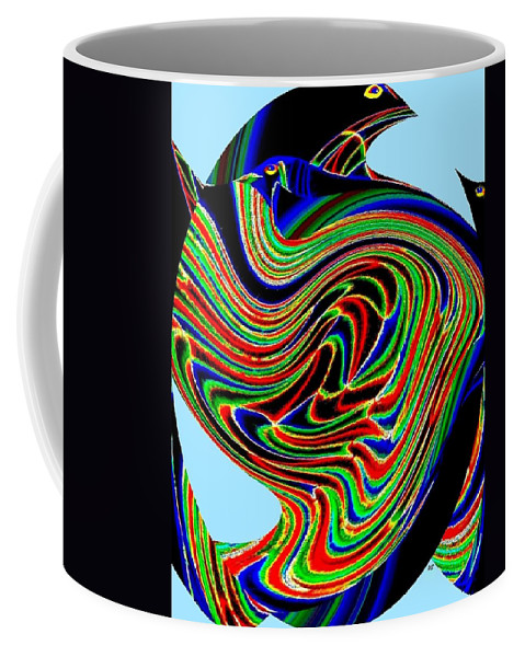 Abstract Coffee Mug featuring the digital art Tropical Bird Trio by Will Borden