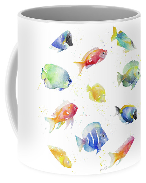 Tropical Coffee Mug featuring the painting Tropical Fish Round by Lanie Loreth