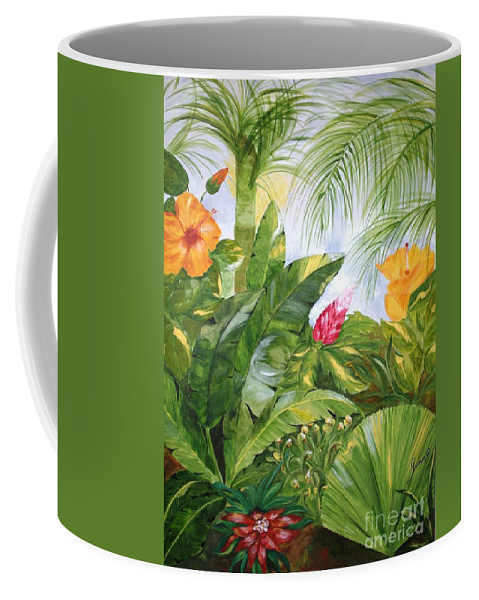 Tropical Coffee Mug featuring the painting Tropical Garden by Graciela Castro