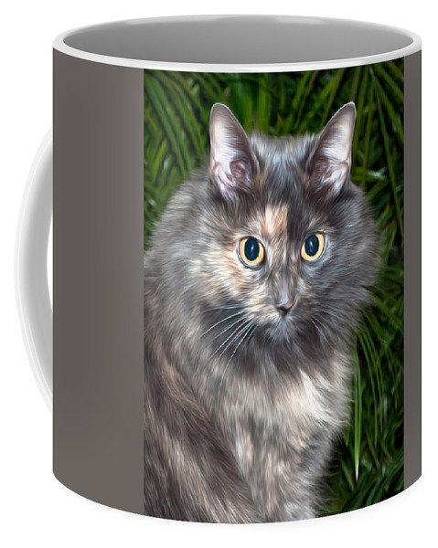 Cat Coffee Mug featuring the photograph Tropical Kitty by Photos By Cassandra