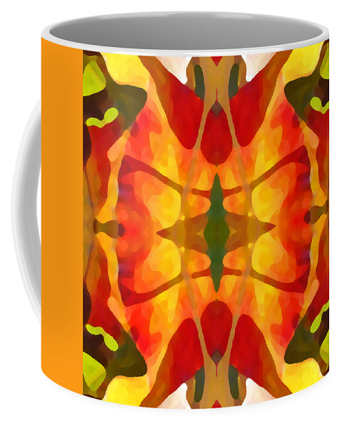 Abstract Coffee Mug featuring the painting Tropical Leaf Pattern5 by Amy Vangsgard