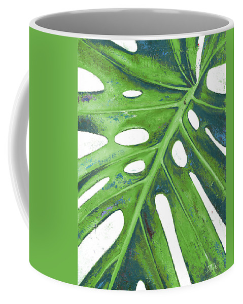 Tropical Coffee Mug featuring the painting Tropical Leaf With Blue I by Patricia Pinto