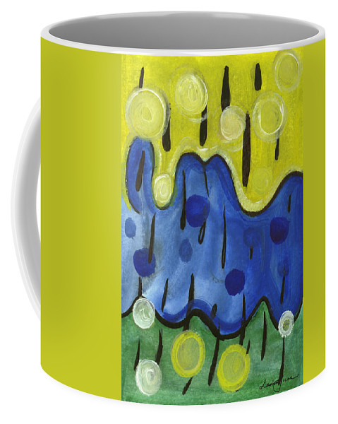 Abstract Art Coffee Mug featuring the painting Tropical Rain by Stephen Lucas