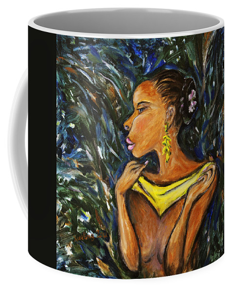 Figurative Coffee Mug featuring the painting Tropical Shower by Xueling Zou