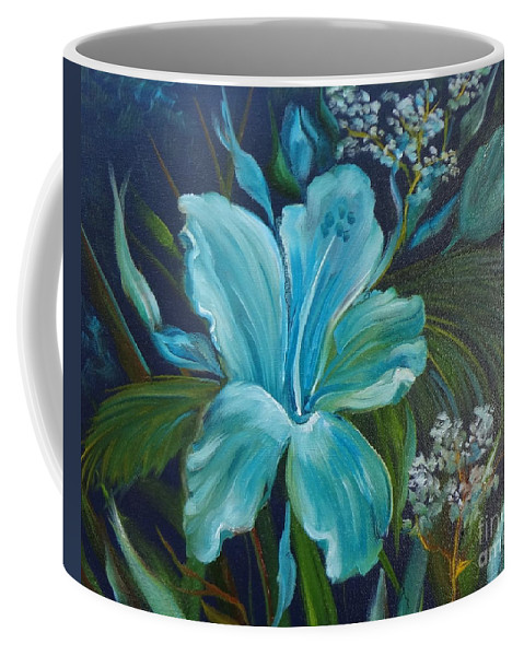 Tropical Blue Floral Print Coffee Mug featuring the painting Tropical Turquoise by Jenny Lee