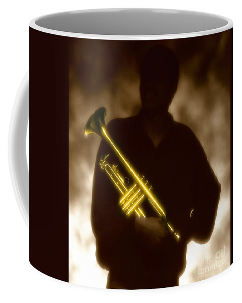 Jazz Coffee Mug featuring the photograph Man Holding Trumpet 1 by Tony Cordoza