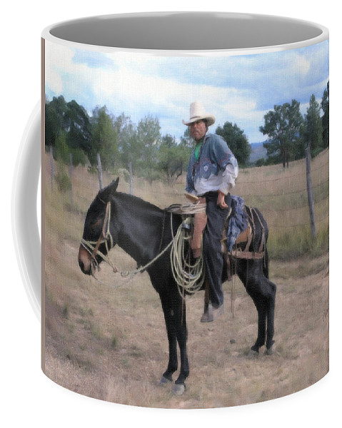 Rodeo Coffee Mug featuring the painting Trusty Mule by Dean Wittle