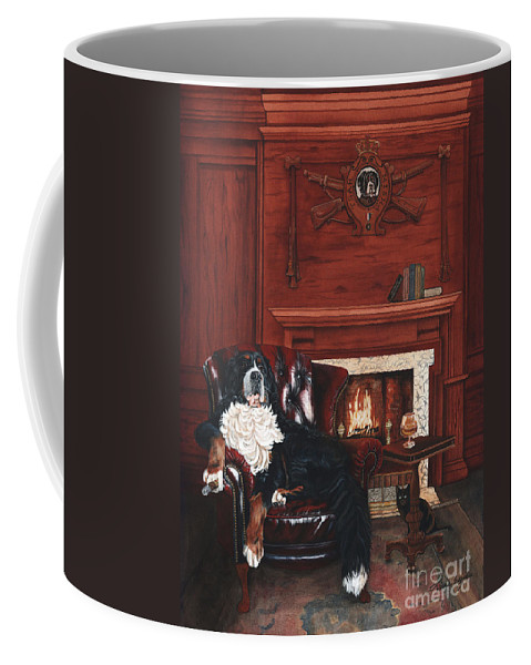 Bernese Mountain Dog Bernese Mountain Coffee Mug featuring the painting Tsar Misha by Liane Weyers