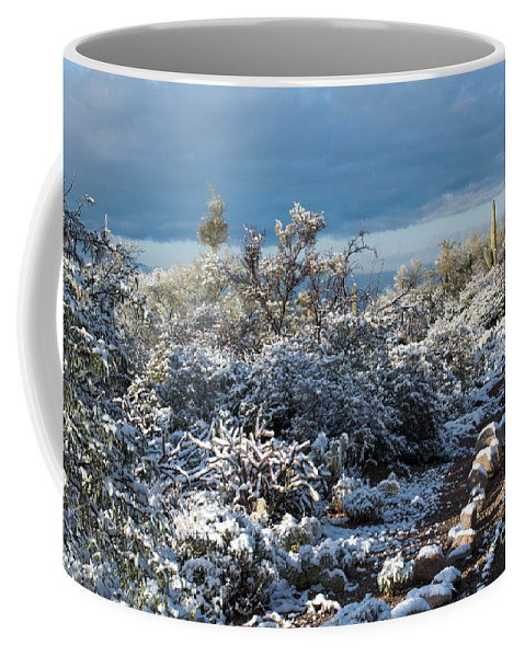 Tucson Coffee Mug featuring the photograph Tucson Covered In Snow by Michael Moriarty