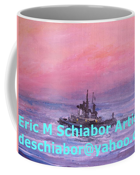 Tug Coffee Mug featuring the painting Tug At Sunrise by Eric Schiabor